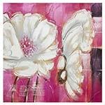 Quadro Pintura Flores Brancas c/ Fundo Roxo Fullway - 80x80 cm