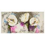 Quadro Pintura Flores Brancas Fullway - 180x90 cm