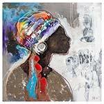 Quadro Pintura Negra Perfil Direito Fullway - 100x100 cm