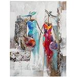 Quadro Pintura com Relevo 2 Damas Colorido Fullway - 120x90 cm