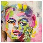 Quadro Pintura Rosto de Mulher Fullway - 100x100 cm