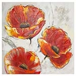 Quadro Pintura Três Flores Laranjas c/ Fundo Branco Fullway - 80x80 cm