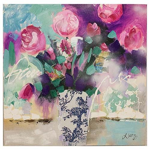 Quadro Pintura Vaso c/ Rosas Fullway - 90x90 cm3
