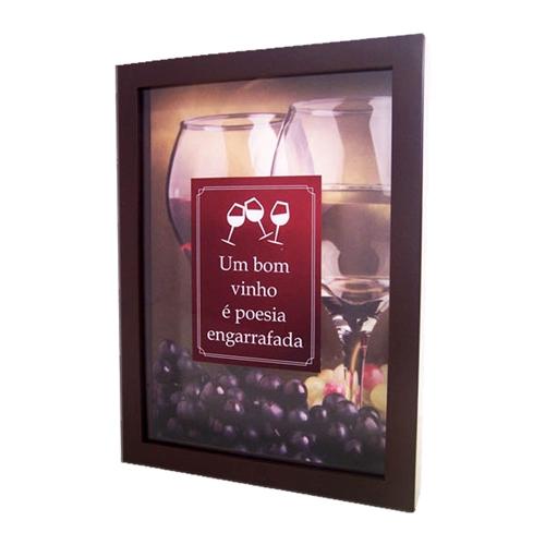 Quadro Poesia Engarrafada Grande - c/ Impressão no Vidro - em MDF - 42x33 cm