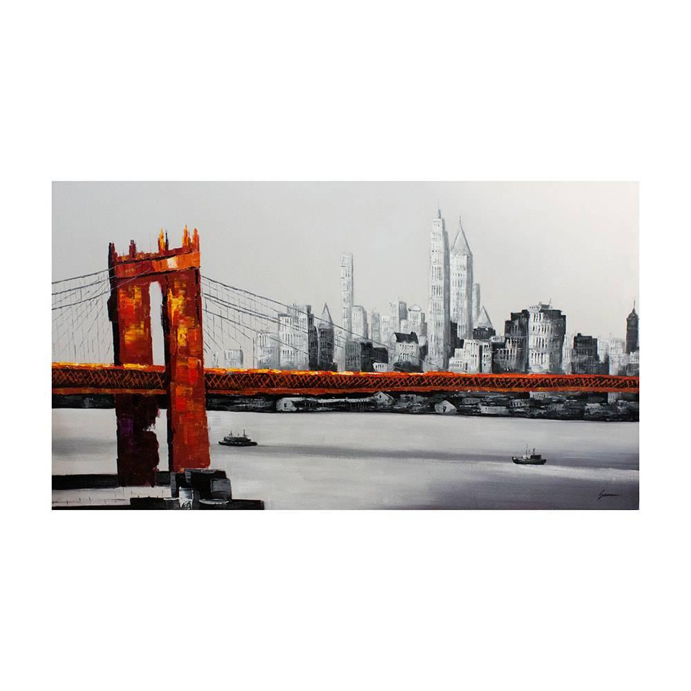 Quadro Ponte do Brooklyn com New York no Fundo Fullway - 180x100 cm