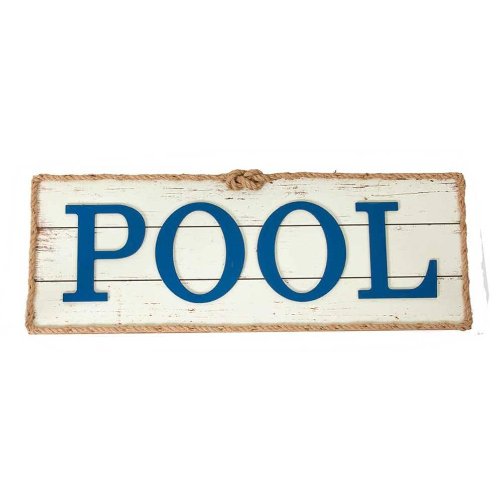 Quadro Pool Azul e Branco em Madeira - 73x27 cm