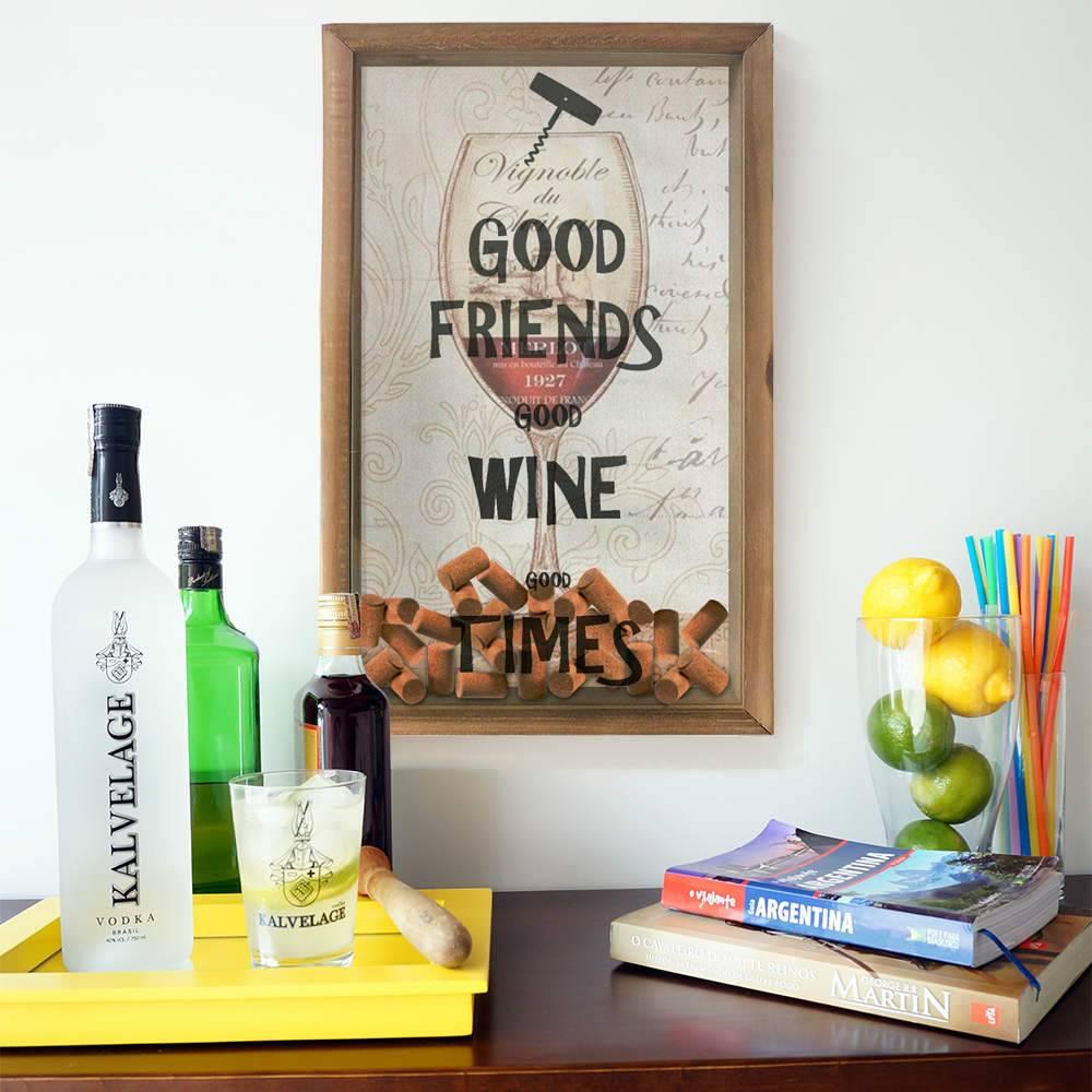 Quadro Porta Rolhas Bom Vinho em Madeira e Vidro - 50x30 cm