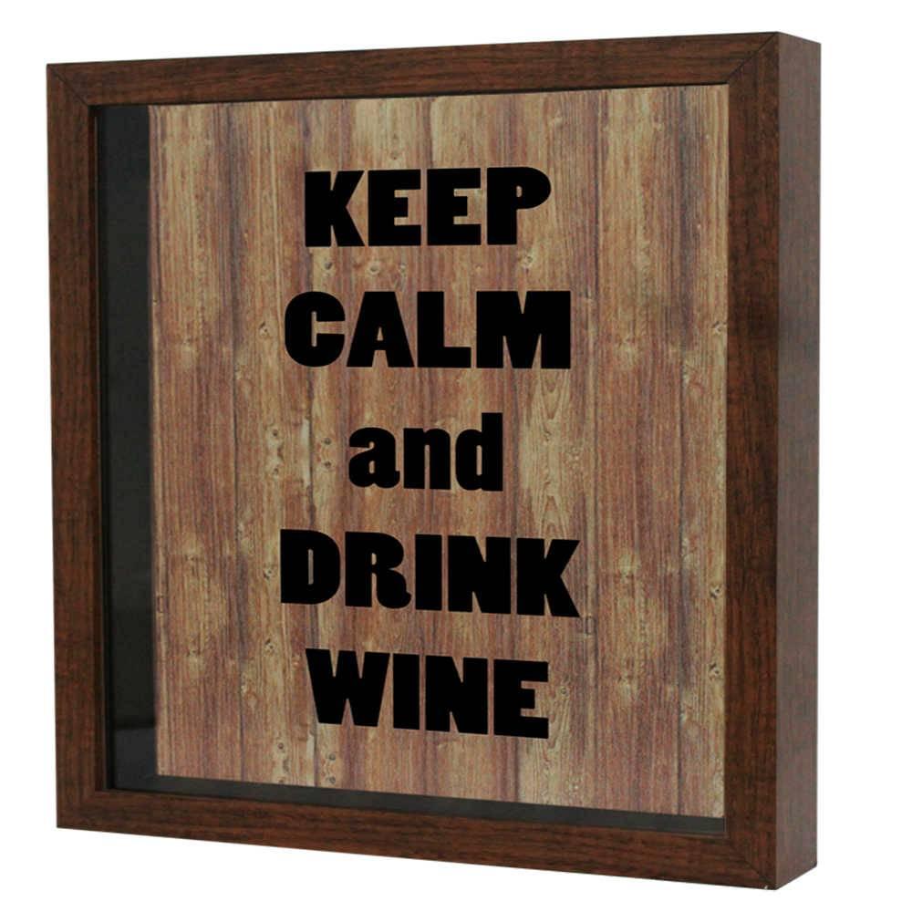 Quadro Porta Rolhas Bons Vinhos Bons Momentos Branco em MDF e Vidro - 25x20 cm