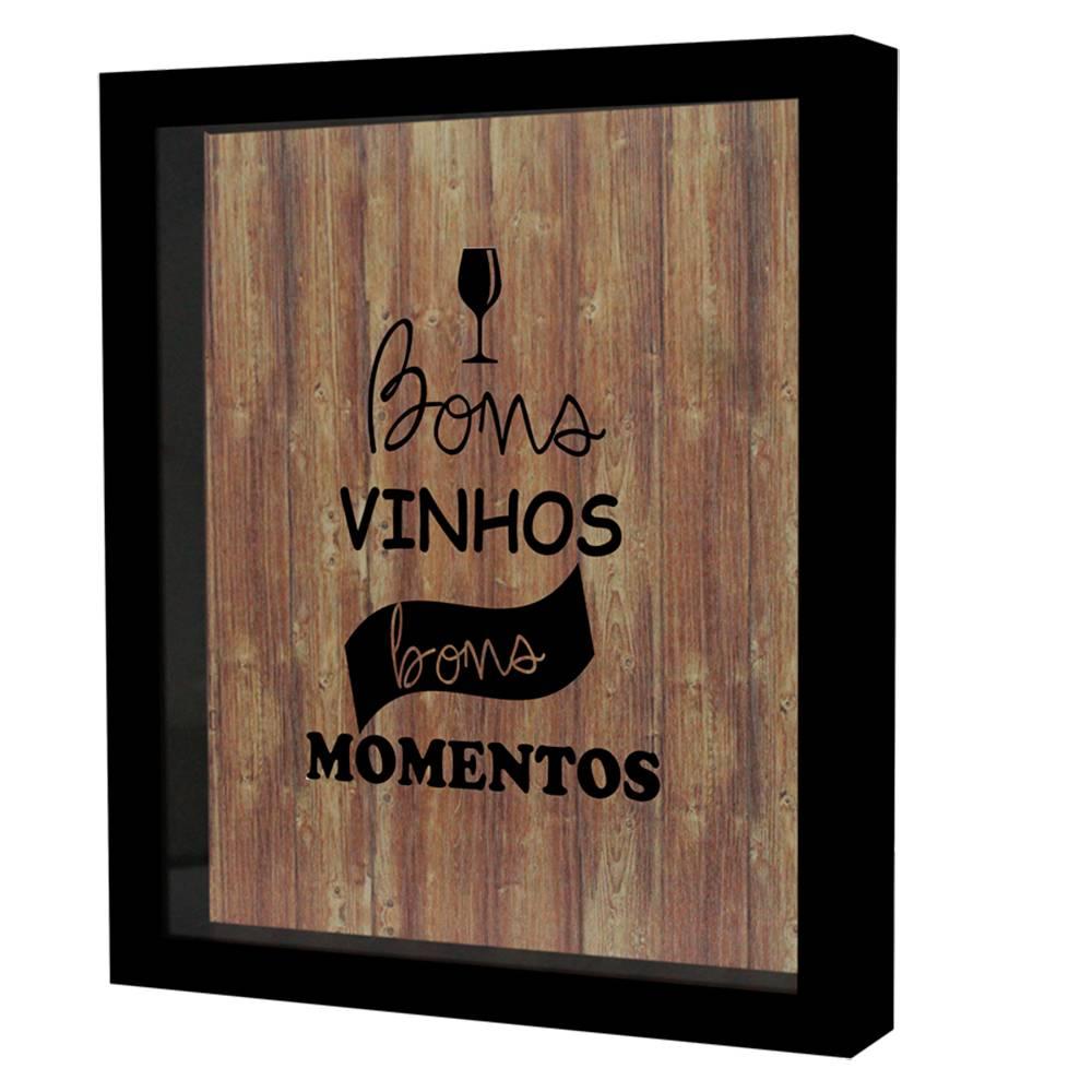 Quadro Porta Rolhas Bons Vinhos Bons Momentos Preto em MDF e Vidro - 25x20 cm