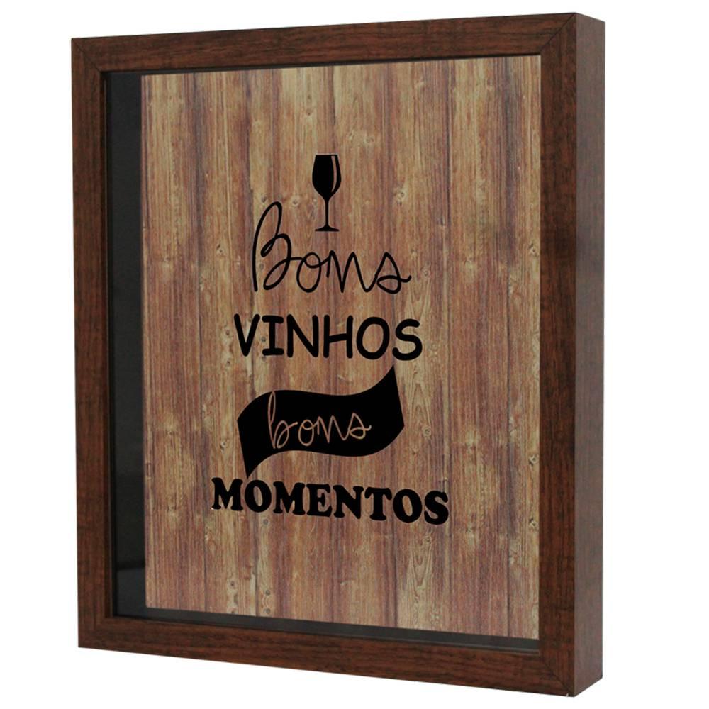 Quadro Porta Rolhas Bons Vinhos Bons Momentos Tabaco em MDF e Vidro - 25x20 cm