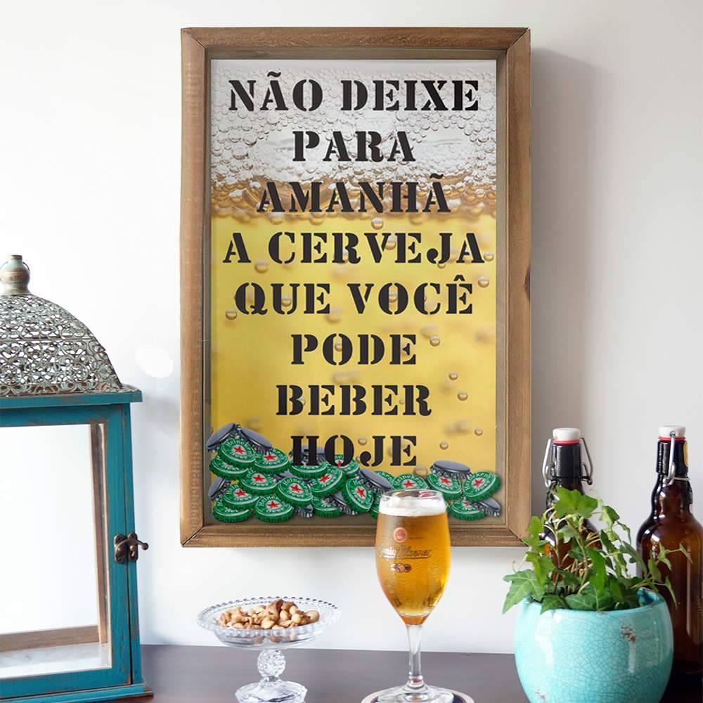 Quadro Porta Tampinhas Não Deixe para Amanhã em Madeira e Vidro - 50x30 cm