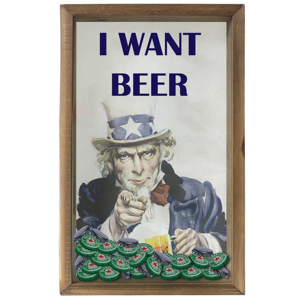 Quadro Porta Tampinhas I Want Beer Tio Sam em Madeira e Vidro - 50x30 cm