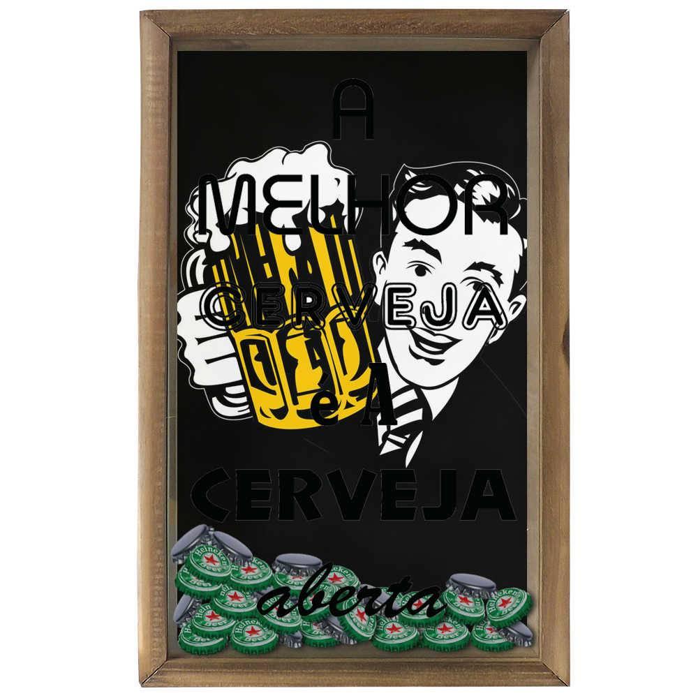 Quadro Porta Tampinhas A Melhor Cerveja em Madeira e Vidro - 50x30 cm