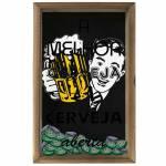 Quadro Porta Tampinhas A Melhor Cerveja em Madeira e Vidro