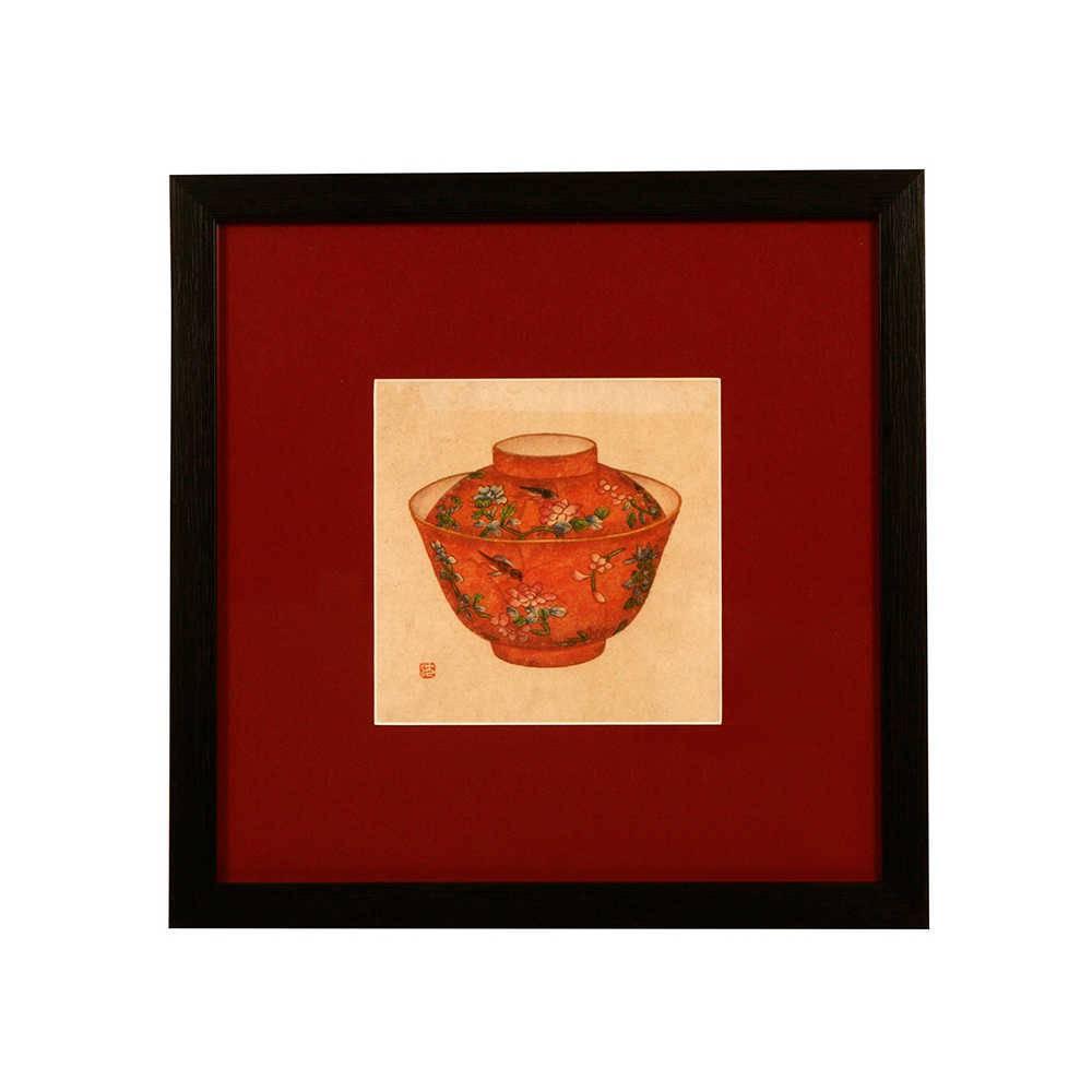 Quadro Pote de Porcelana Laranja Estampado em Madeira - 33x33 cm