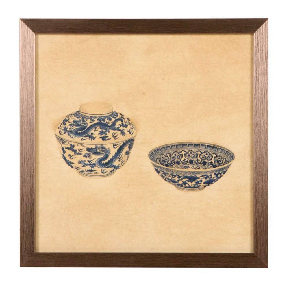 Quadro Pote e Tigela de Porcelana Azul e Bege em Madeira - 33x33 cm