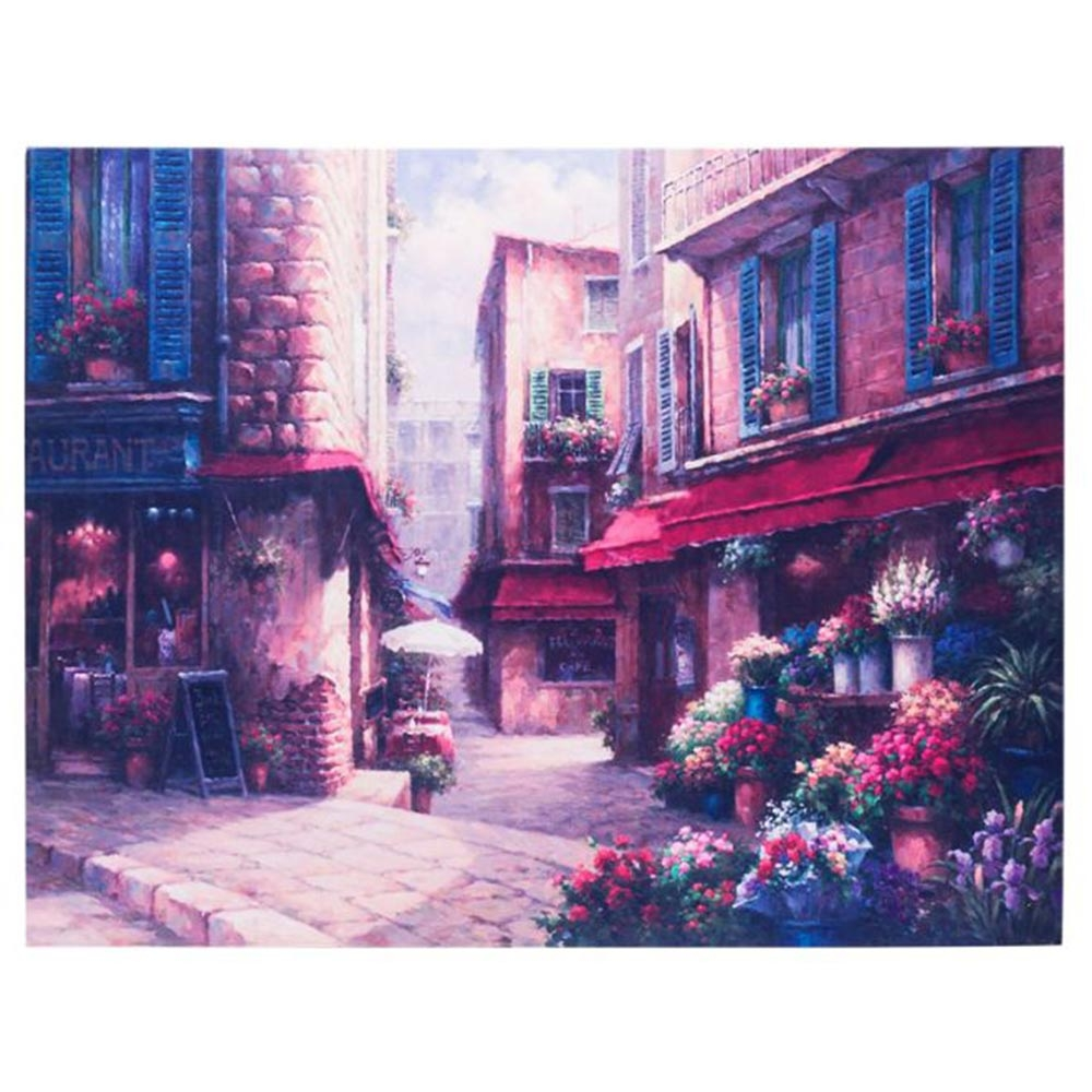 Quadro Praça Cheia de Flores em Canvas - 45x35 cm