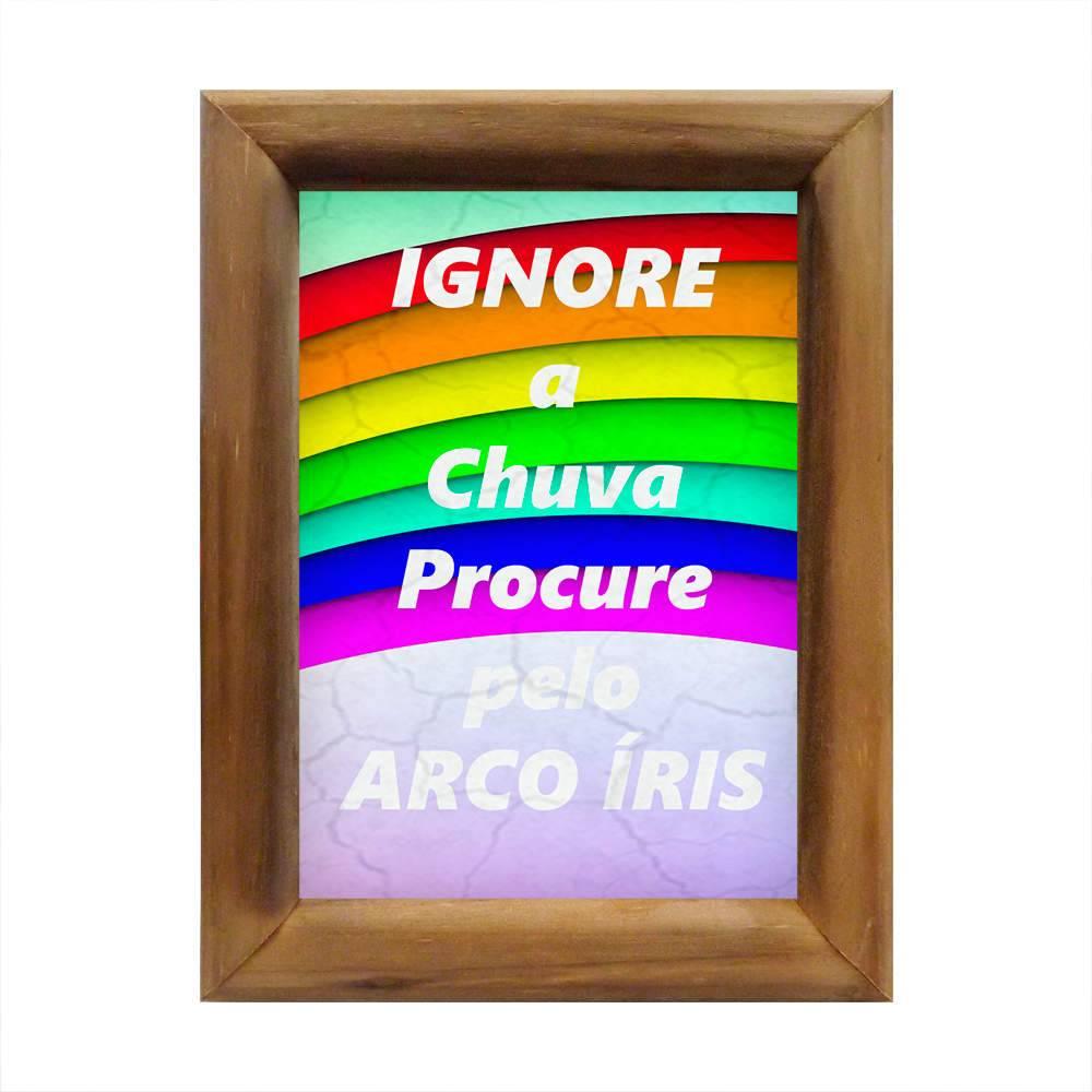 Quadro Procure pelo Arco Íris Multicolorido em Madeira - 26x20 cm