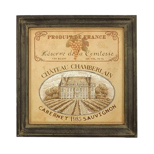 Quadro Produit de France - Madeira Estampada - 30x30 cm