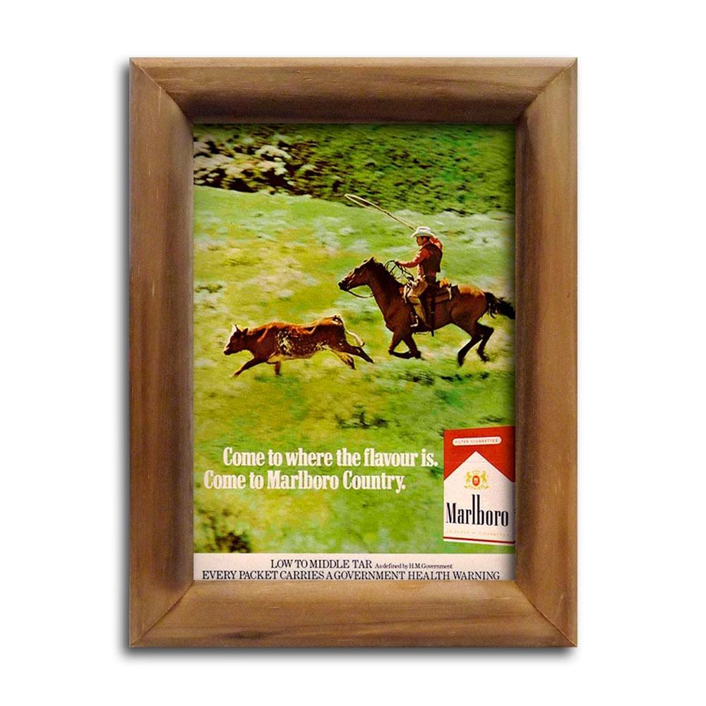 Quadro Propaganda Marlboro Red com Moldura em Madeira - 26x20 cm