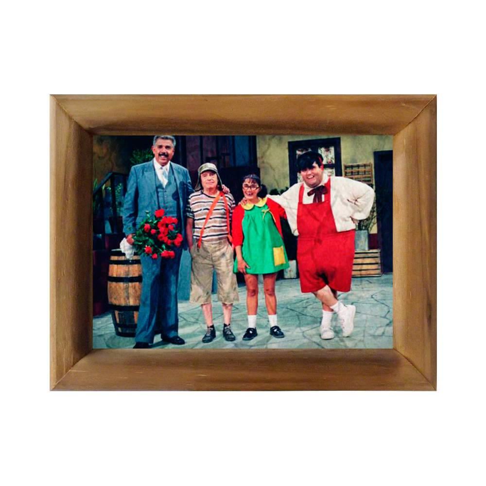 Quadro Quarteto Turma do Chaves em Madeira - 26x20 cm