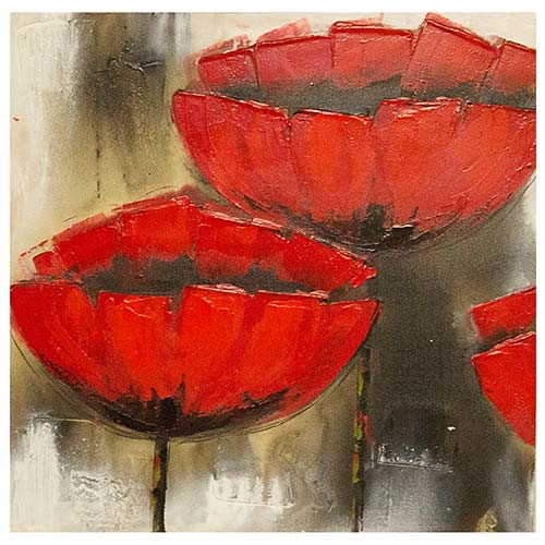 Quadro Red Flowers Fullway - 60x60 cm