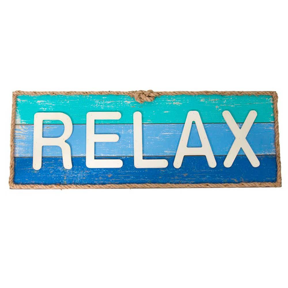 Quadro Relax Azul e Branco em Madeira - 73x27 cm