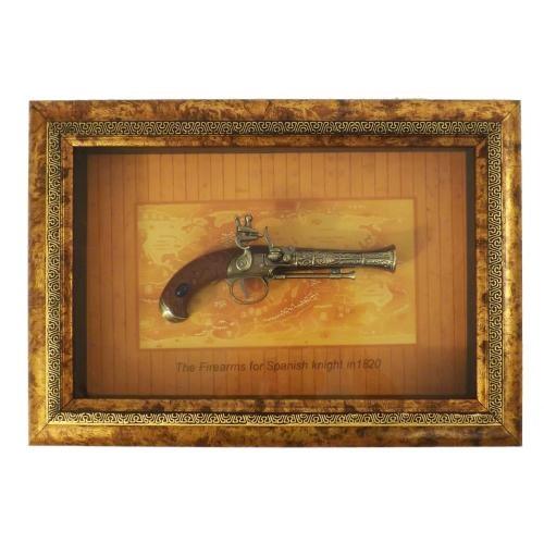 Quadro Réplica de Arma Antiga - Pistola Espanhola - 43x24.5 cm