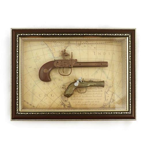 Quadro Réplica de Armas com Cano Dourada - 37x27 cm