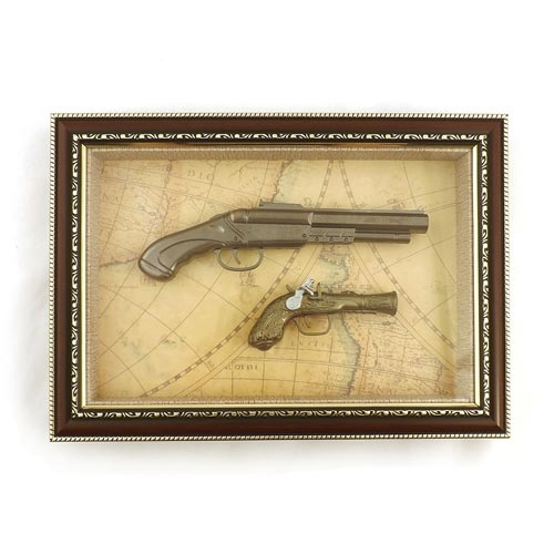 Quadro Réplica de Armas com Cano Prata - 37x27 cm