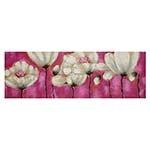 Quadro Retangular Flores Brancas c/ Fundo Roxo - 150x50 cm