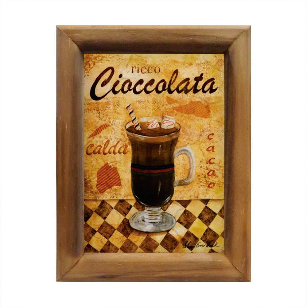 Quadro Ricco Cioccolata - Chocolate Quente - em Madeira - 26x20 cm