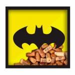 Quadro Rolha DC Comics Batman Logo Amarelo e Preto em Madeira e Vidro - Urban - 33x33 cm