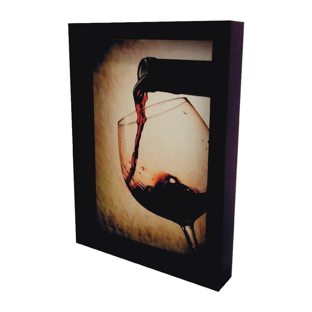 Quadro para Rolhas Taças e Amoras Pequeno em MDF e Vidro - 32,5x23 cm