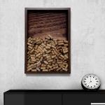 Quadro para Rolhas Rough Wood Marrom Grande em Madeira