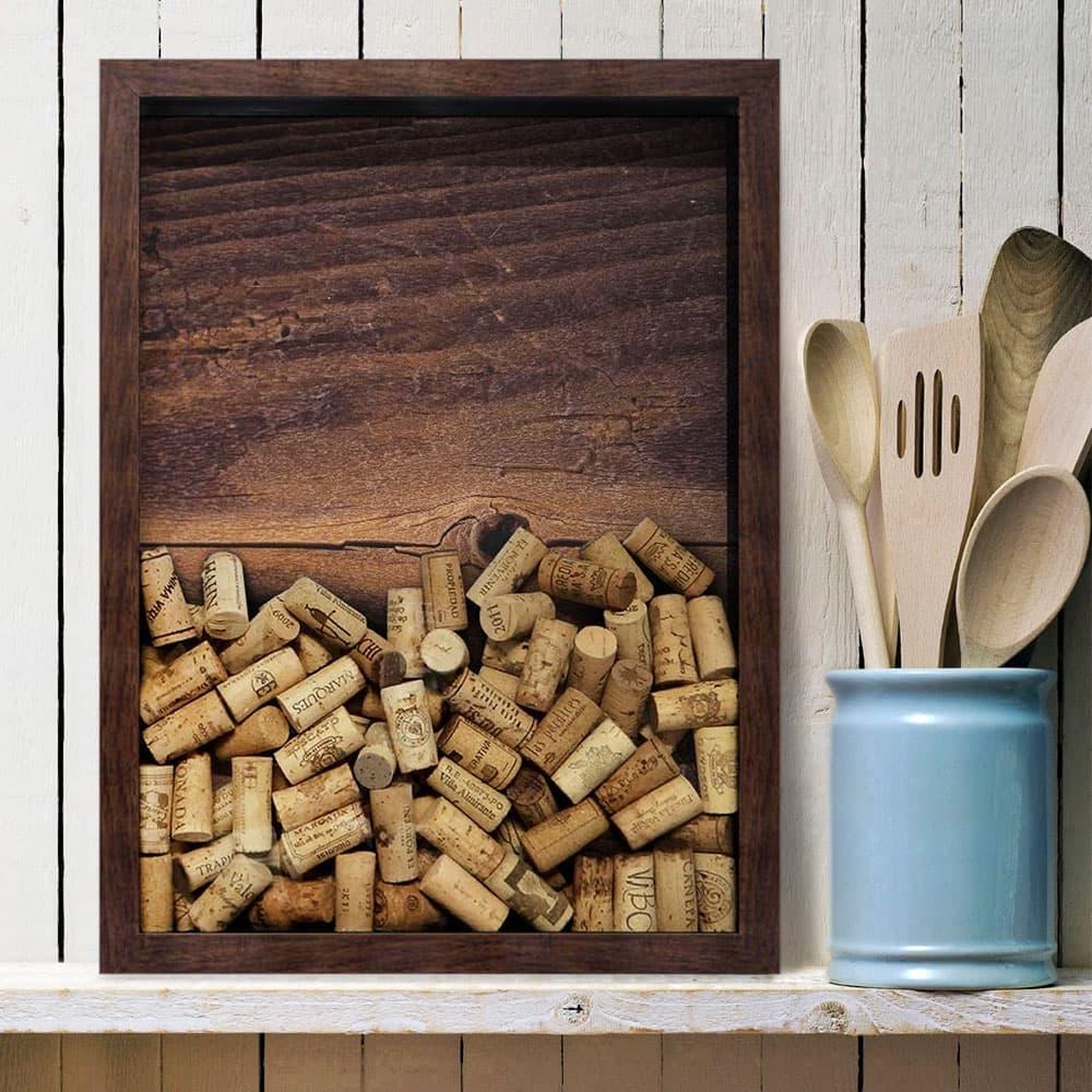 Quadro para Rolhas Rough Wood Marrom Médio em Madeira - 48x36 cm