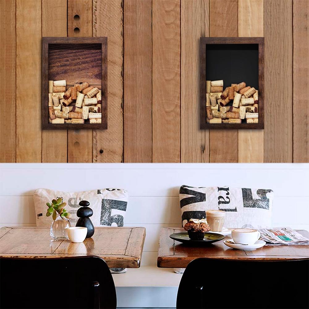Quadro para Rolhas Rough Wood Marrom Pequeno em Madeira - 33x23 cm