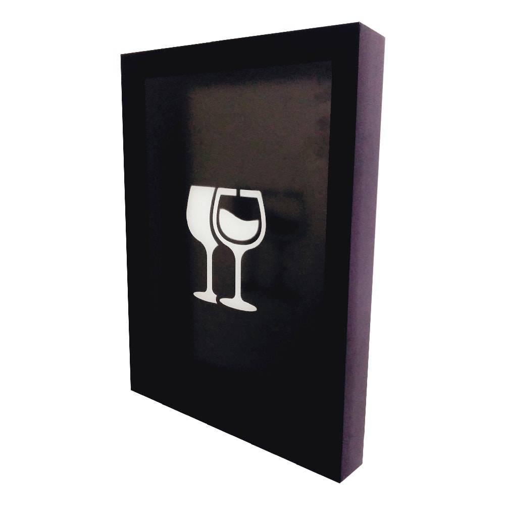 Quadro para Rolhas Taças de Vinho c/ Impressão Digital em Vidro e MDF - 44x33 cm