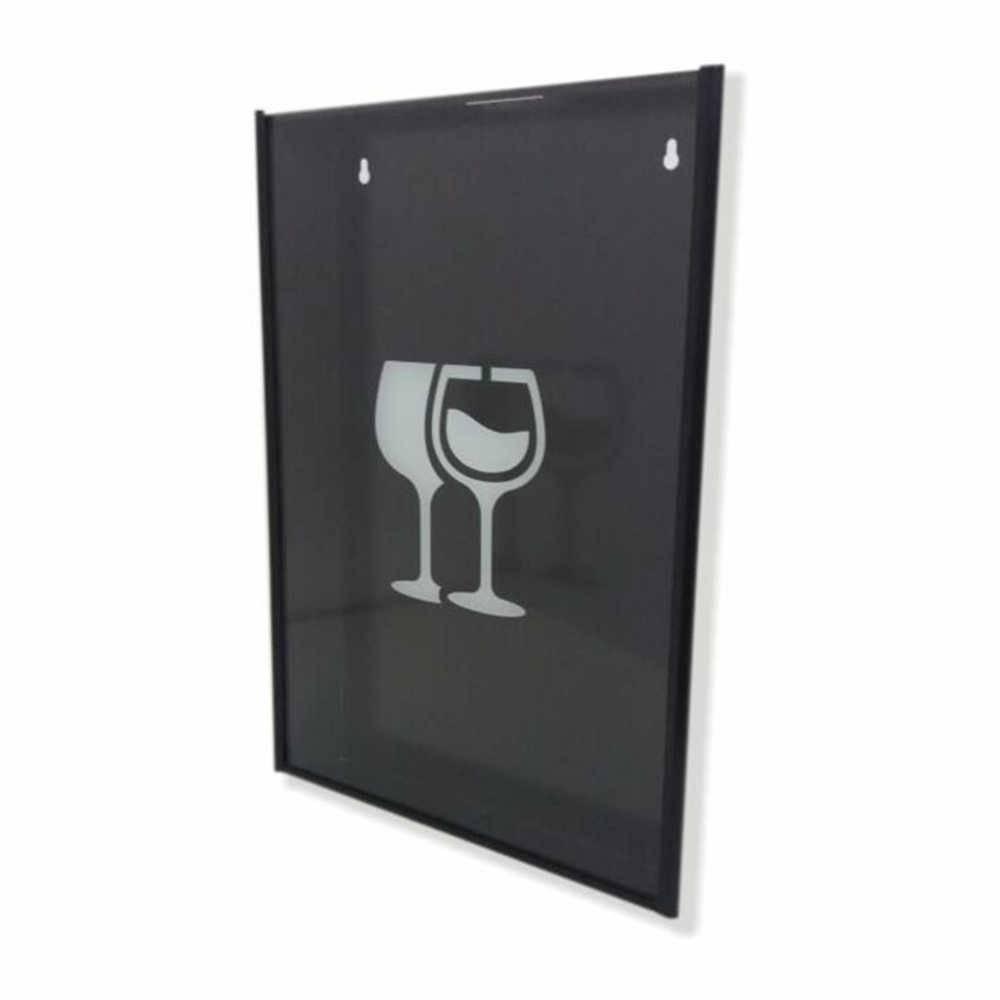 Quadro para Rolhas Taças de Vinho c/ Impressão Digital em Vidro e Metal - 44x33 cm