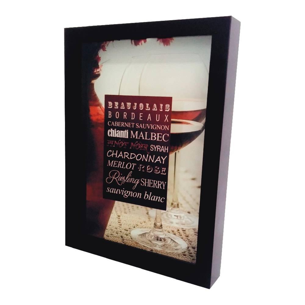 Quadro para Rolhas Taças de Vinho Tinto Grande c/ Impressão Digital em Vidro e MDF - 44x33 cm