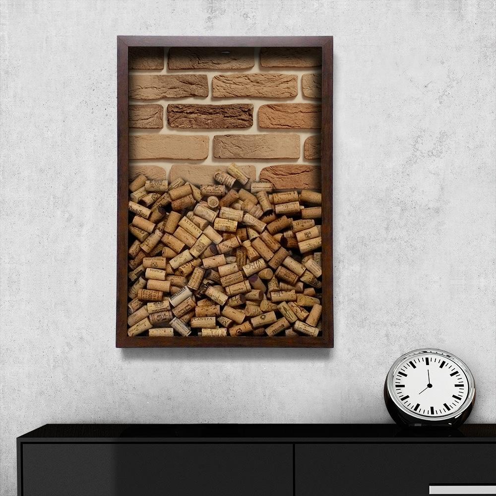 Quadro para Rolhas Tijolo Natural Grande em Madeira - 63x43 cm