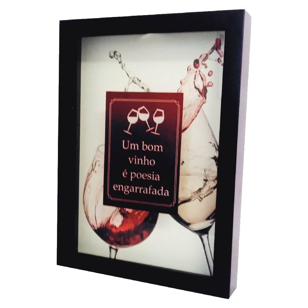 Quadro para Rolhas Vinho é Poesia Engarrafada c/ Impressão Digital em Vidro e MDF - 44x33 cm