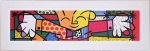 Quadro Romero Britto Hug Branco Pequeno B - Madeira - 28cm x 86cm x 1cm