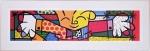 Quadro Romero Britto Hug Pequeno Branco Médio B - Madeira - 33cm x 107cm x 1cm