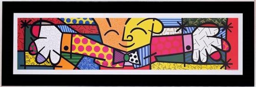 Quadro Romero Britto Hug Preto Médio A - Madeira - 33cm x 107cm x 1cm