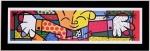 Quadro Romero Britto Hug Preto Pequeno A - Madeira - 28cm x 86cm x 1cm