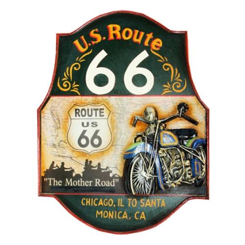 Quadro Route 66 c/ Moto em Madeira - 60x49 cm