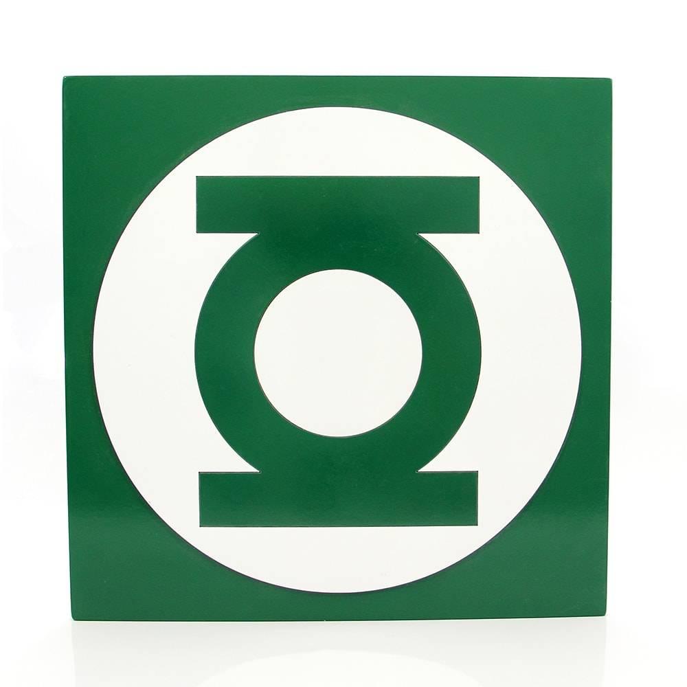Quadro Símbolo Super Heroi Lanterna Verde em MDF - 40x40 cm