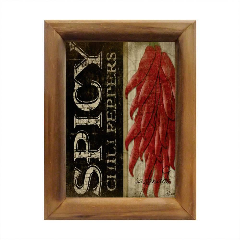 Quadro Spicy Chili Peppers em Madeira - 26x20 cm