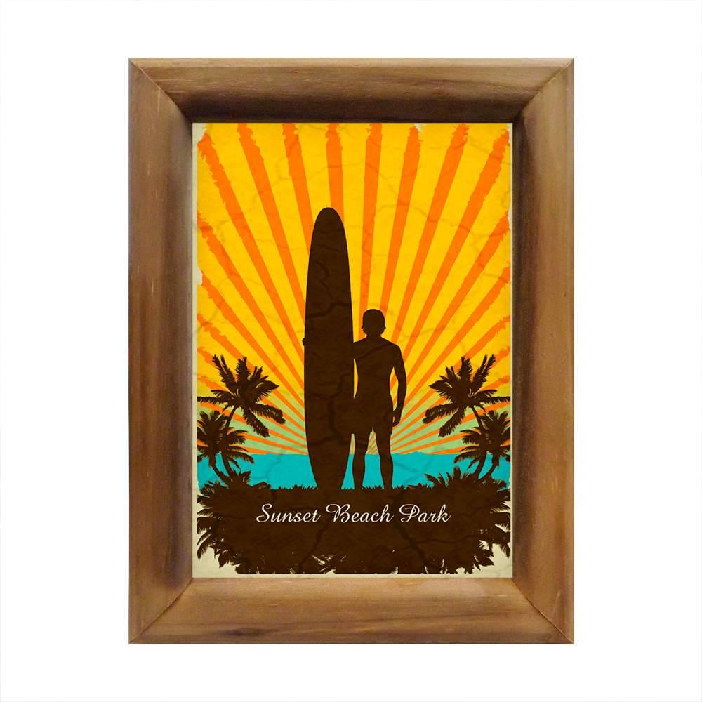 Quadro Sunset Beach Park Tropical em Madeira - 26x20 cm